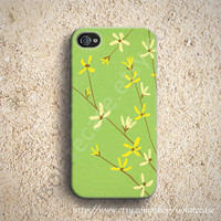 Green floral flower iphone 5 case, iphone 4s case iPhone 4 case iphone cover iphone case plastic iphone case