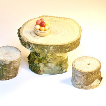 Primitive Table and Chair Set Miniature Fairy garden Dollhouse Natural Tree Furniture