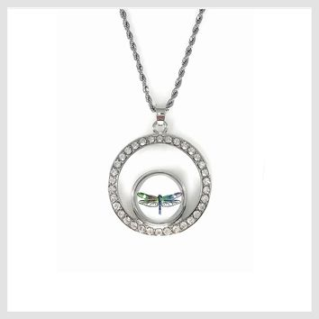 Dragonfly Snap Charm Pendant Rhinestones and Stainless Steel Necklace