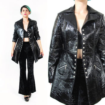 1990s Black Rain Coat Slick Trench Coat Wet Look Goth Rain Jacket Shiny Slicker Snap Front Club Kid Mod Waterproof Vinyl Jacket (M)