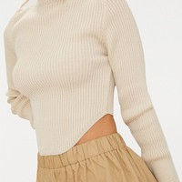 Petite Stone High Neck Curve Hem Jumper