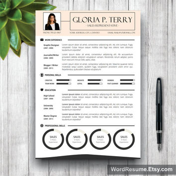 Professional Resume Template | CV Template + Cover Letter for MS Word | Curriculum Vitae | Instant Digital Download CV Template