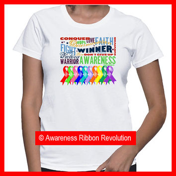 Cancer Awareness Typographic Ribbon Shirts