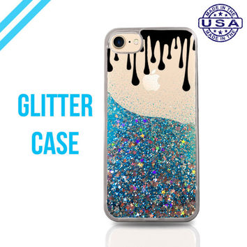 Black Paint Drips Cute Tumblr Liquid Glitter Case Sparkle Clear Case iPhone 6 Plus iPhone 6s iPhone 6s Plus iPhone 7 iPhone 7 Plus