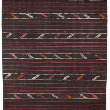 Handmade  Unique Striped Over Dyed Kilim Rug 6'1'' x 10'7'' ft 185 x 323 cm  (Free Shipping)