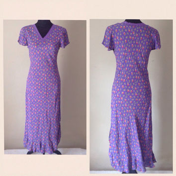 Vintage Boho Dress-April Cornell-Long Dress-Purple-Pink Flowers-Ruffle Hem-Bohemian-Festival-Rayon-Hippie Dress-Summer Dress-India Dress