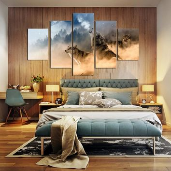 5 Pieces Winter Misty Morning Forest Wolfs Animal Modern Home Wall Decor Canvas Picture Art HD Print Painting On Canvas Artworks