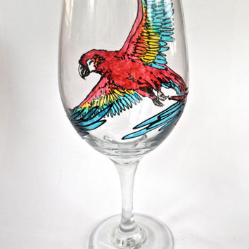 Hand Painted Wine Glass Scarlet Macaw by RKArtwork on Etsy