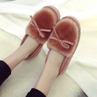 Winter Fur Snow Women Warm Slippers Indoor Home Keep Warm Adult Floor Plush Cotton Slippers Loafers Pregnant Women Shoes SY-868