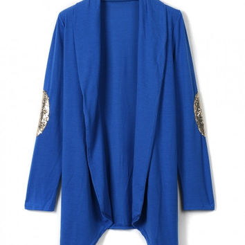 Blue Patch Elbow Sequin Detail Long Sleeve Waterfall Cardigan