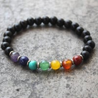 Ebony and multicolor gemstone chakra mala bracelet