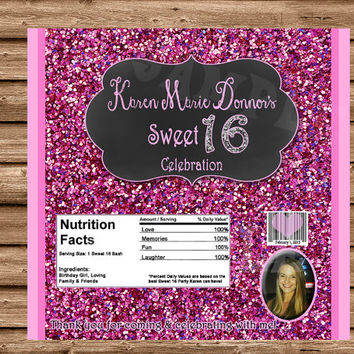 Sweet 16 Favors - Sweet 16 Candy Wrapper - Pink - Glitter - Personalized Sweet 16 Party Favors - Chalk - Sweet Sixteen Party
