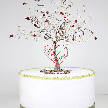 Wedding Cake Topper Personalized Tree With Heart