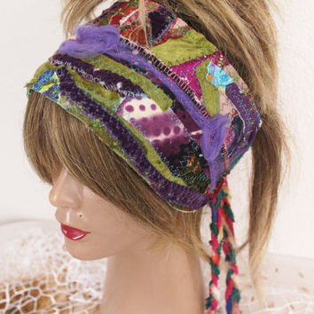Hippie head, purple head, purple shawl goddess Dreads, boho headband, Intergalactic Clothing, Hair Wrap, wrap Dreadlock, recycling headband