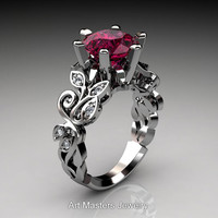 Nature Inspired 950 Platinum 3.0 Ct Garnet Diamond Leaf and Vine Crown Solitaire Ring RD101-PLATDG