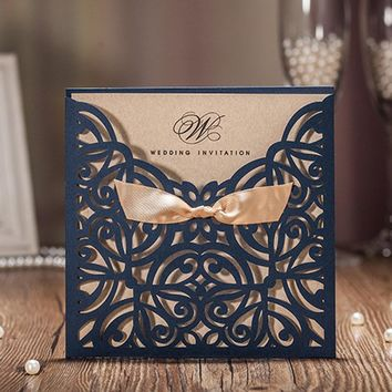 1pcs Sample Blue Laser Cut Luxury Wedding Invitations Card: Elegant/Gold