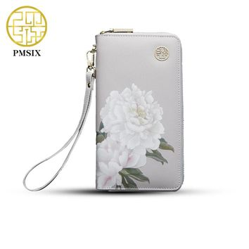 2017 Pmsix Floral Printing Chinese Style Cattle Split Leather Wallet Long Zip Wristlet Bag Brand Design Casual Purse 420042