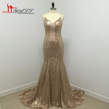 Cheap African Gold Sequins Mermaid Prom Dress 2016 Deep V-neck Sexy Sparkle Long Glitter Evening Women Gown Criss-Cross Backless