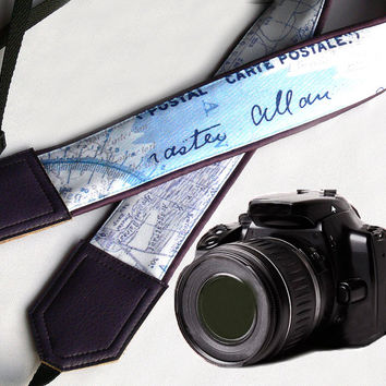 Dark Purple World Map Camera Strap. Vintage camera strap. DSLR / SLR Camera Strap. For Sony, canon, nikon, panasonic, fuji and other cameras.
