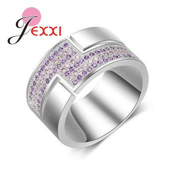 JEXXI Luxury Crystal Rings For Women 925 Sterling Silver Jewelry Wedding Rings Micro CZ Pave Best Friend Teen Gift Hot Sale
