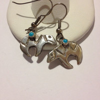 Navajo Turquoise Sterling Earrings Bear Fetish Blue New Silver 925 Vintage Tribal Southwestern Jewelry Valentine's Mother's Birthday Gift