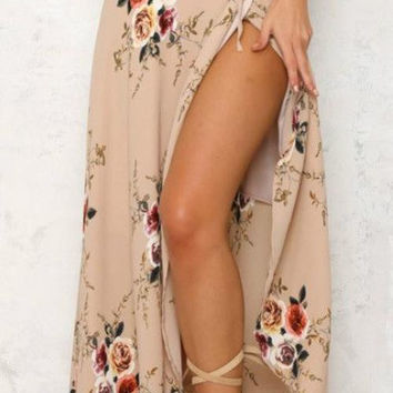Casual High Slit Floral Printed Irregular Skirt