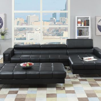 Bonded Leather 2 Piece Sectional Set In Black