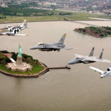 Heritage Flight Nyc Warplanes Warbirds Military Aviation Metal Print 8in x 12in