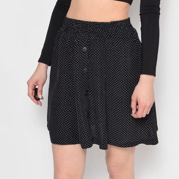 Vintage Micro Polka Dot Black Buttonned Full Skirt