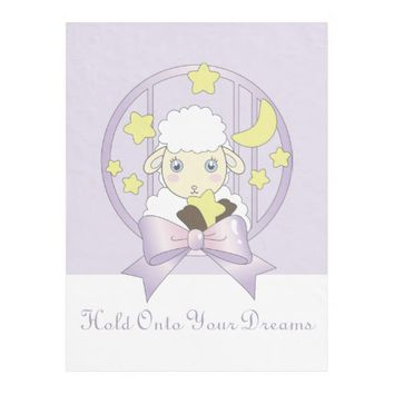 Hold Onto Your Dreams - Cute Lamb, Moon, and Stars Fleece Blanket