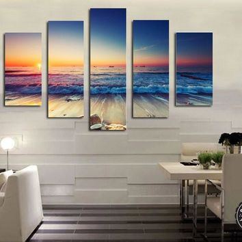 5 Panel Sunset Seascape Canvas Oil Painting