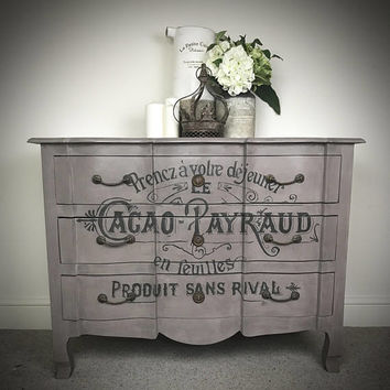 Shabby chic french typography chest of drawers