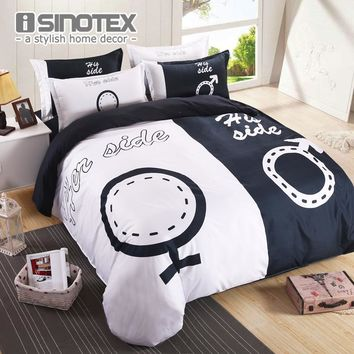 Brand Bedding Set Duvet Cover Set for Couples Plain Letter Print Pattern Bed Linens Sheet Pillow Cover 4PCS Queen King Size