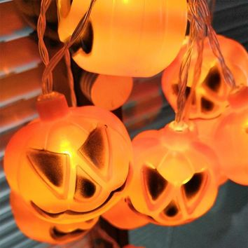 1PC 2M 10LEDS Battery Operated Halloween them Pumpkin Shantou ghost Style LED String Lights Halloween Party Garden Decoration