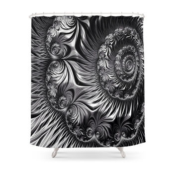 Society6 Elegant Silver And Black Fractal Shower Curtain