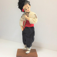 Varna Bulgaria Souvenir Boy Doll Playing Flute Hand Made Cloth Mid Century Hand Crafted 618