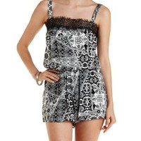 Black/White Lace-Trim Boho Printed Romper by Charlotte Russe