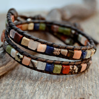 Bohemian leather bracelet. Multicolored double wrap. Natural stone cube bead bracelet.