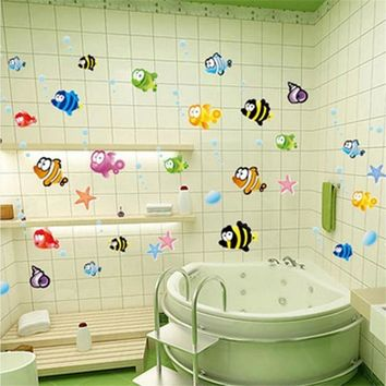 lovely sea Fish animals cute funny cartoon starfish home decal wall sticker vinyl wall art for kids rooms nursery bathroom decor