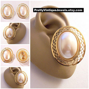 Monet Oval Pearl Lattice Clip On Earrings Gold Tone Vintage White Bead Open Weave Wide Edge Comfort Paddles