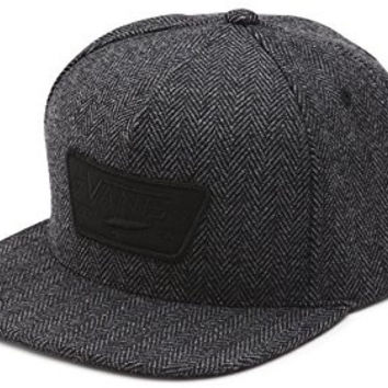 Vans Off The Wall Men's Retro Full Patch Snapack Hat Cap - Black Tweed