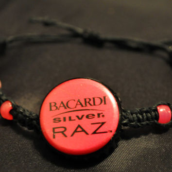 Black and Pink Bacardi Silver Raz Recycled Bottle Cap Hemp Fully Adjustable Size Bracelet - Unique Jewelry