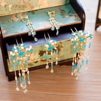 Fashion Chinese bride headdress pink costume hairpin ornaments set earring gold color decoration wedding hair accessory pingyan