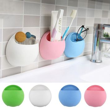 Eggs Toothpaste Dispenser Toothbrush Holder Suction Hooks Cups Organizer Bathroom Toothbrush Holder Cup Wall Mount Sucker W2