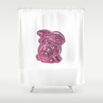 Pink Bunny Shower Curtain by drawingsbylam