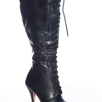 Natures Breeze Riot And Rock Amber-04 Ruched Faux Leather Knee High Lace Up Stiletto Boots - Black