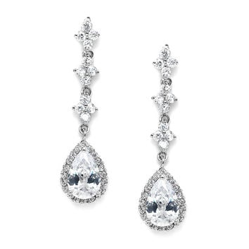 Bridal or Prom Cubic Zirconia Dangle Earrings