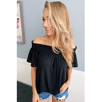 Share Your Dreams Off The Shoulder Top- Black
