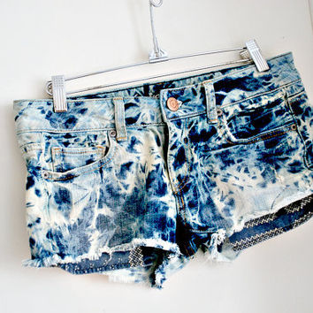 acid wash. vintage 80's short shorts. hand dyed.