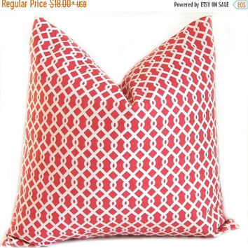 Sale Coral Pillow Covers - Coral Pillow Covers - Decorative Pillow Covers - Coral Cushion Covers - Modern Trellis Pillow - Coral Bedding